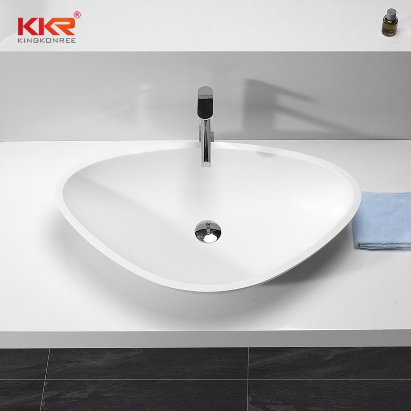 Trangle Shape White Marble Acyrlic Solid Surface Wash Basin KKR-1503