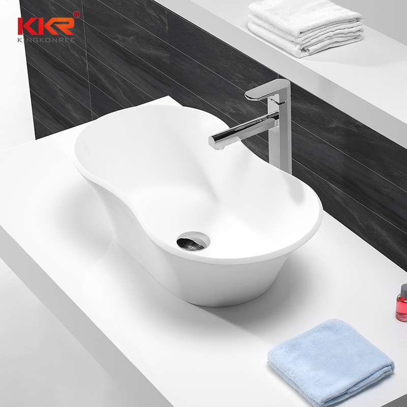 High-end Acrylic Marble Solid Surface Lavatory Wash Basin KKR-1504