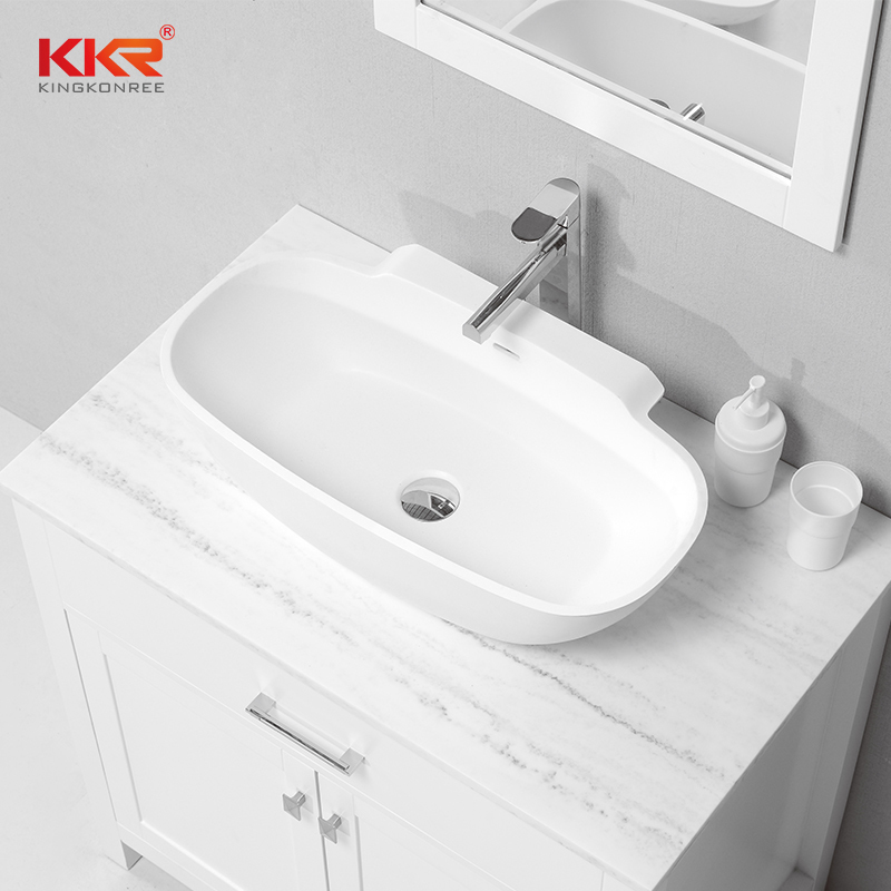 New Design 650mm Length Solid Surface Acrylic Resin Stone Wash Basin KKR-1518