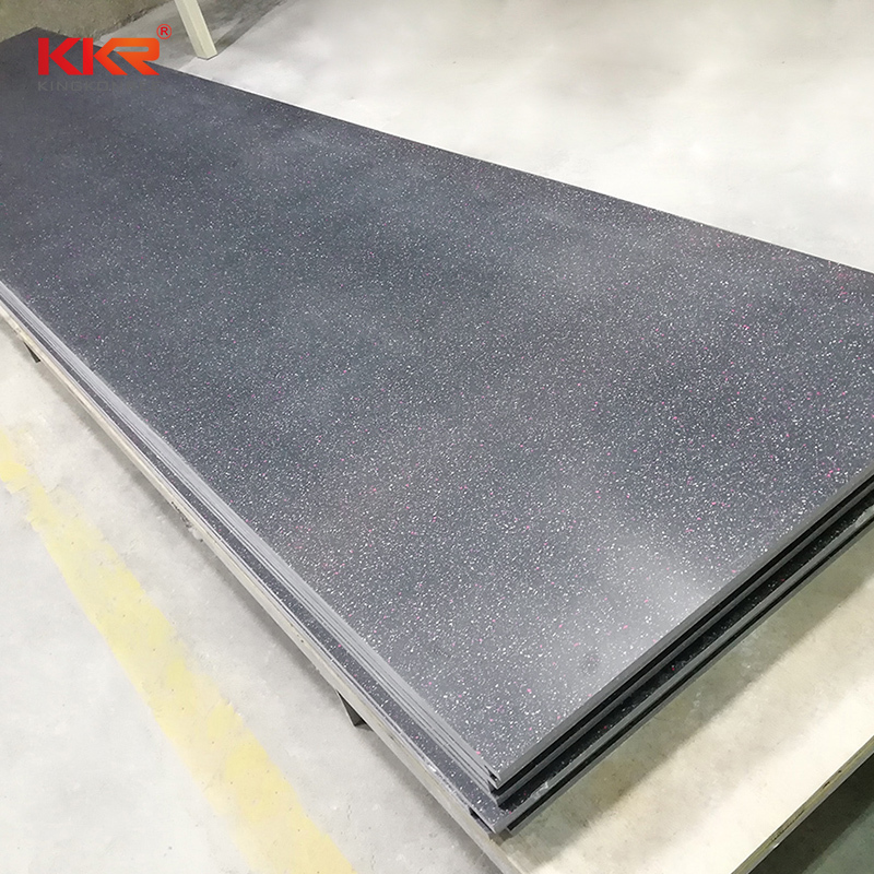 12mm Black Color With Chips Modified Acrylic Solid Surface Sheet KKR-M1646