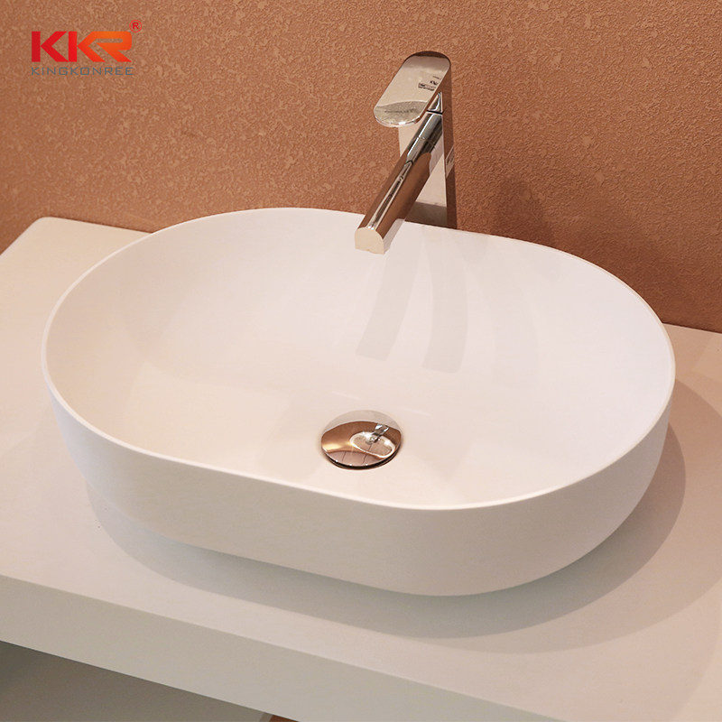 Thin Edge Artificial Marble Acrylic Solid Surface Countertop Wash Basin KKR-1151