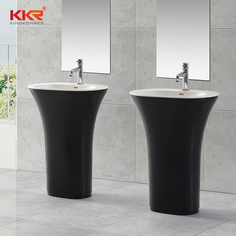 Gel Coat Acrylic Stone Solid Surface Freestanding Wash Basin KKR-1383