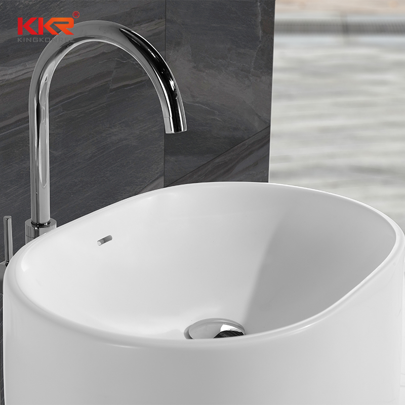 High-en Italian Design White Marble Acrylic Solid Surface Freestanding Basin KKR-1385
