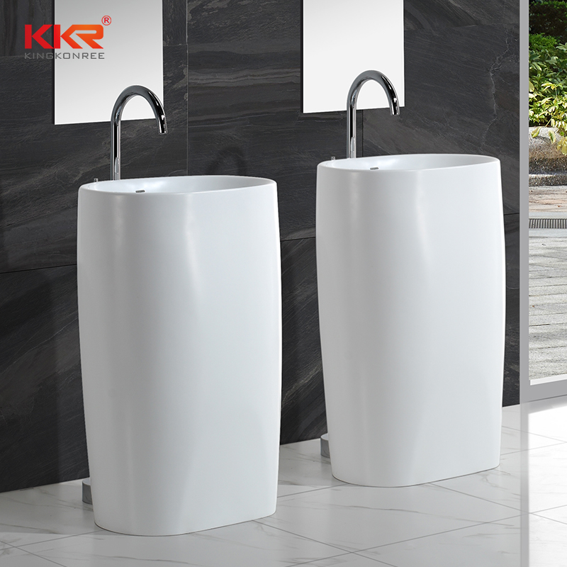 High-en Italian Design White Marble Acrylic Solid Surface Freestanding Basin KKR-1385