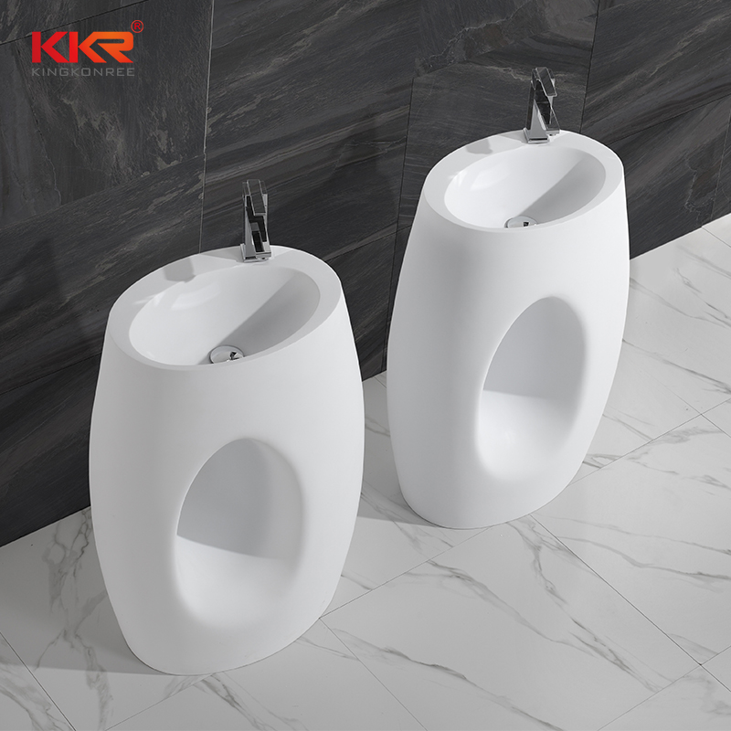 Polymarble Acrylic Resin Stone Solid Surface Freestanding Basin KKR-1388