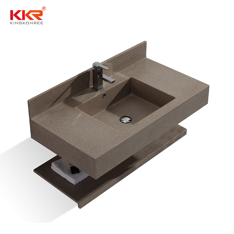 Coffee Brown Chips Color Acrylic Solid Surface Wall Mount Wash Basin KKR-1377