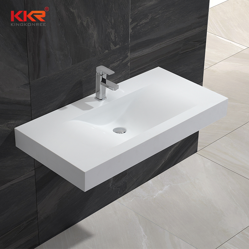 1000mm Length White Marble Artificial Stone Solid Surface Wall Hung Basin KKR-1376