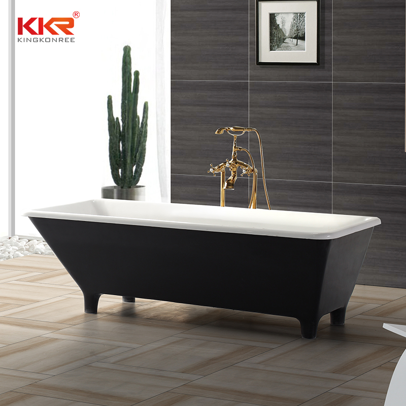 Polymarble Acrylic Resin Stone Solid Surface Freestanding Bathtub With Foot KKR-B031