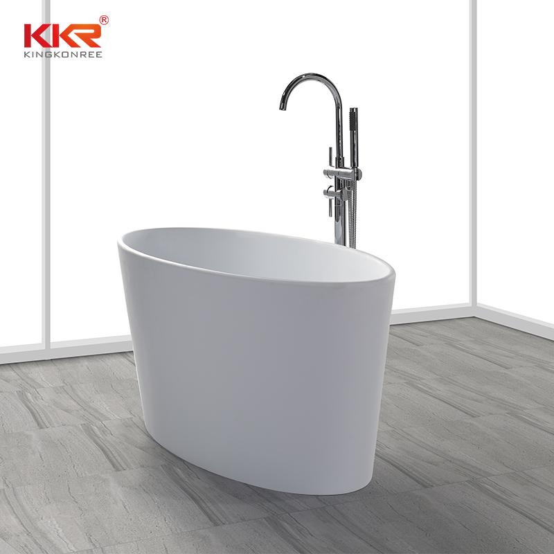 Small Size Oval Shape Acrylic Solid Surface Freestanding Soaking Bathtub KKR-B032