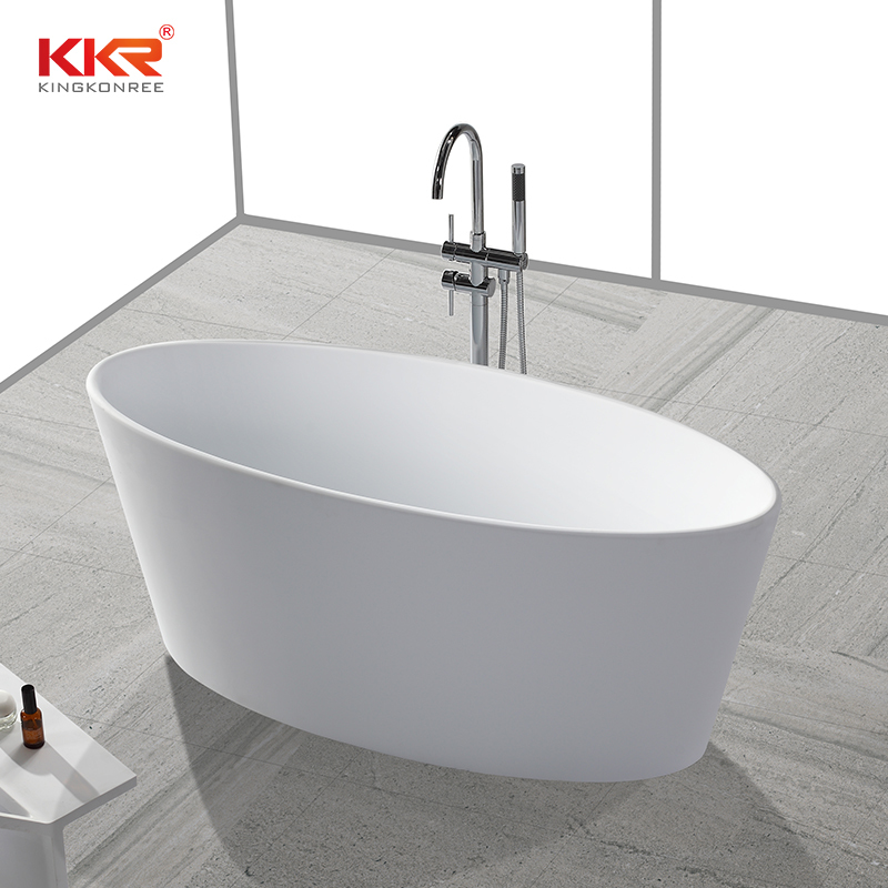 Small Size Oval Shape Acrylic Solid Surface Freestanding Soaking Bathtub KKR-B032