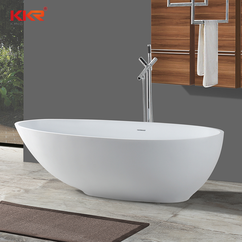 Modern Oval Shaped Solid Surface Resin Stone Freestanding Bathtub  KKR-B033