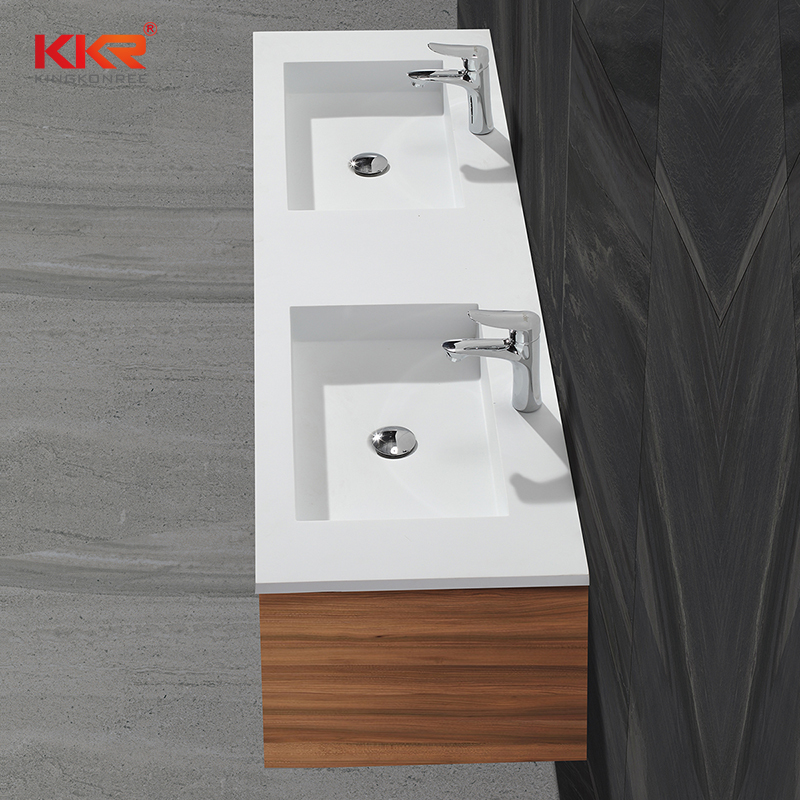 High Quality Double Sinks Rectangle Acrylic Solid Surface Cabinet Basin  KKR-1356