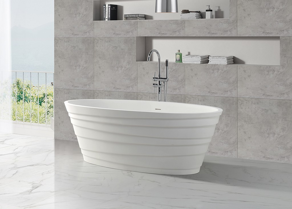 KingKonree Brand afrtificial furniture standing solid surface bathtub