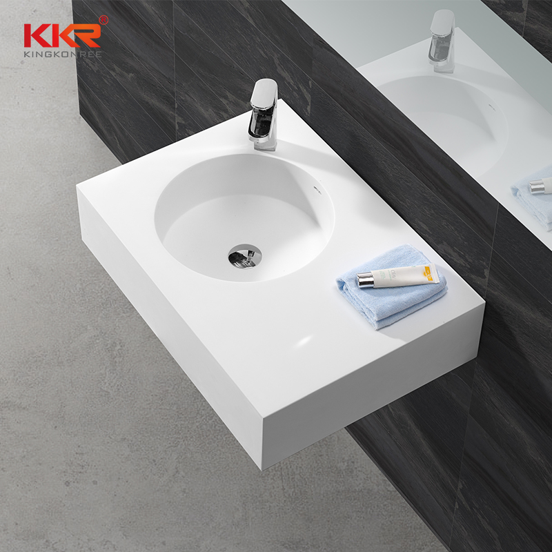Good Quality Acrylic Stone Resin Solid Surface Wall Hung Basin KKR-1270