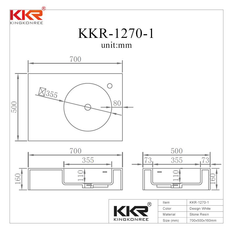 Good Quality Acrylic Stone Resin Solid Surface Wall Hung Basin KKR-1270