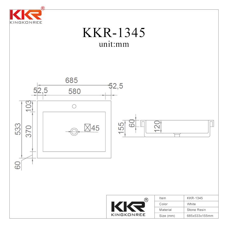 Gel Coat Stone Resin Acrylic Solid Surface Cabinet Basin KKR-1345