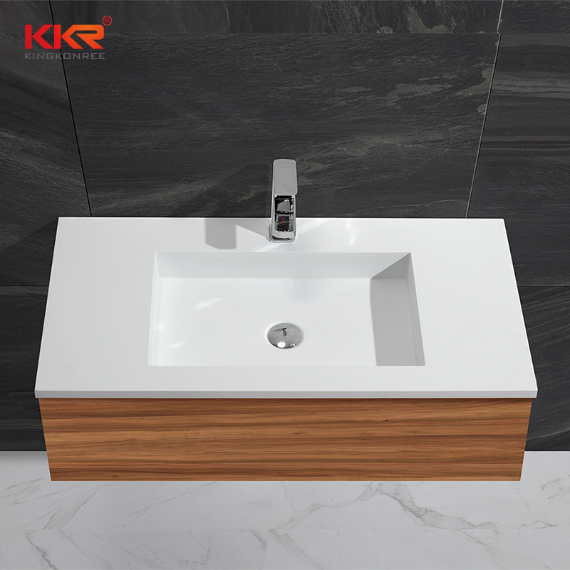 Straight Flange Rectangle Acrylic Solid Surface Cabinet Basin KKR-1354