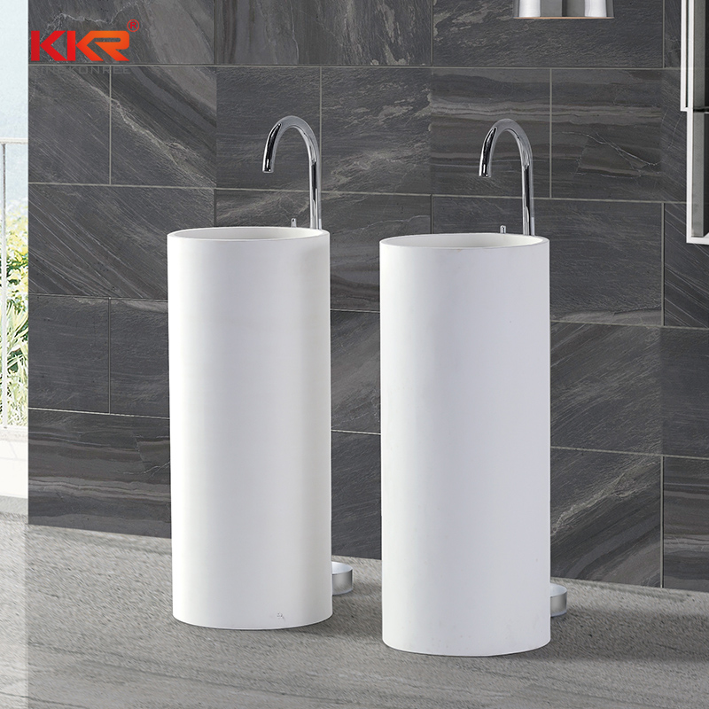 350mm Diameter Samll Round Solid Surface Freestanding Basin KKR-1389