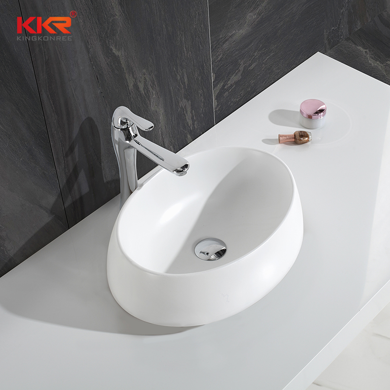 Ellipse Small Size Artificial Stone Acrylic Resin Stone Solid Surface Wash Basin KKR-1308