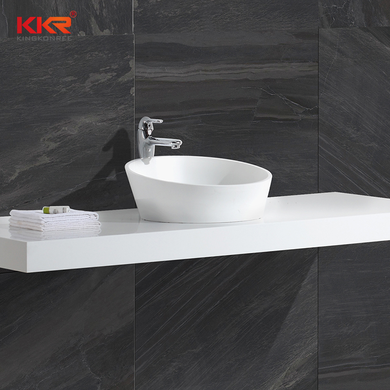 Special Shape White Marble Acrylic Solid Surface Above Counter Wash Basin KKR-1309