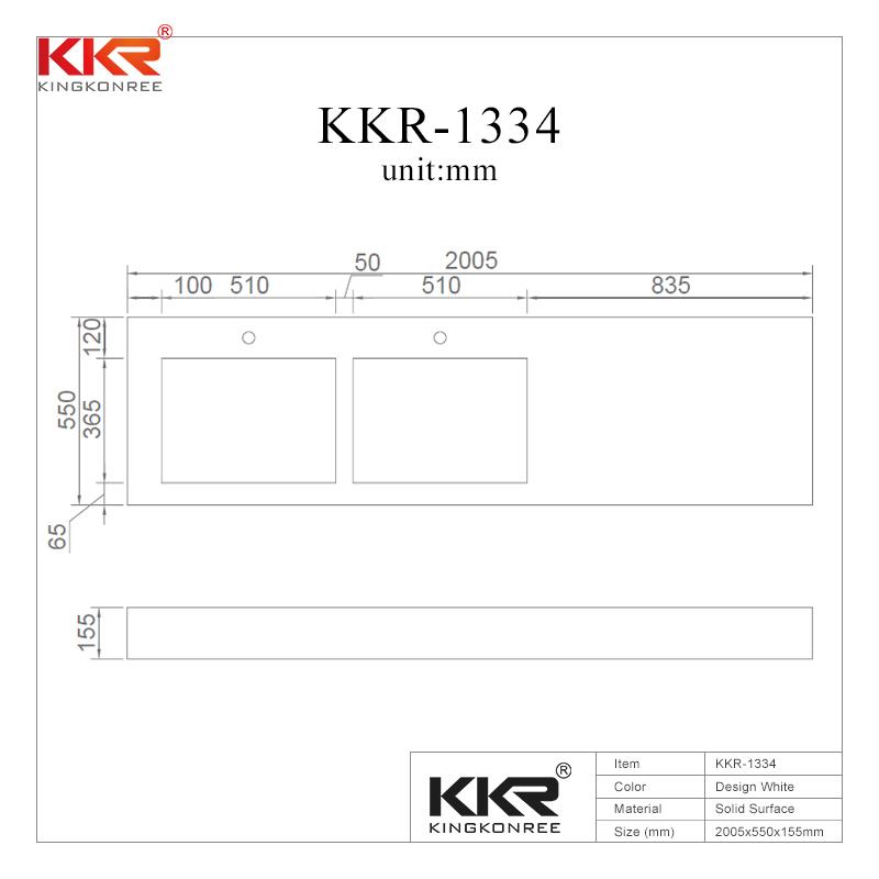 2 Meters Long Design Solid Surface Wall Hung Basin KKR-1334