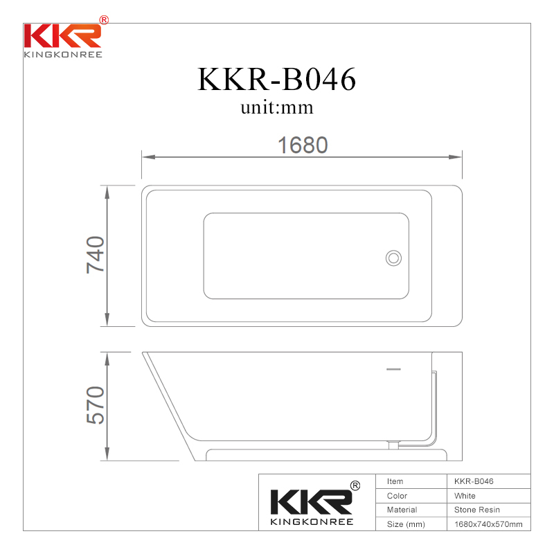 Acrylic Solid Surface Artificial Stone Bathroom Bathtub KKR-B046