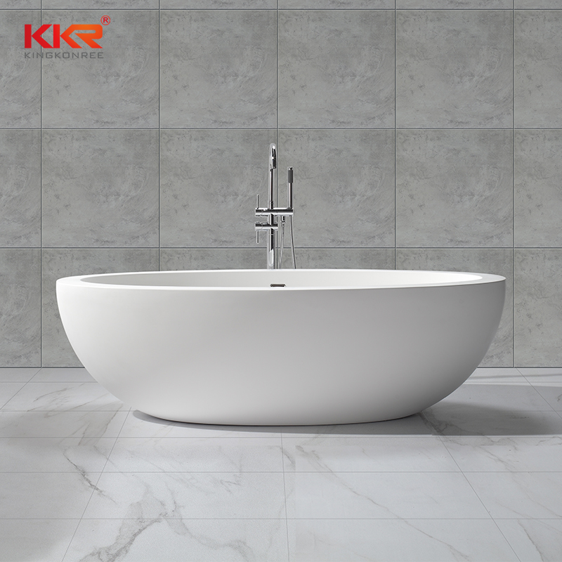 Large Size Bathroom Freestanding Oval Artificial Stone Solid Surface Bathtub KKR-B048