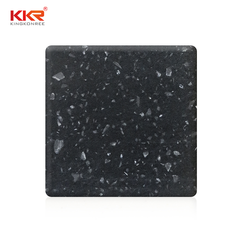 Black Chips Color Acrylic Stone Solid Surface Sheet KKR-M1675