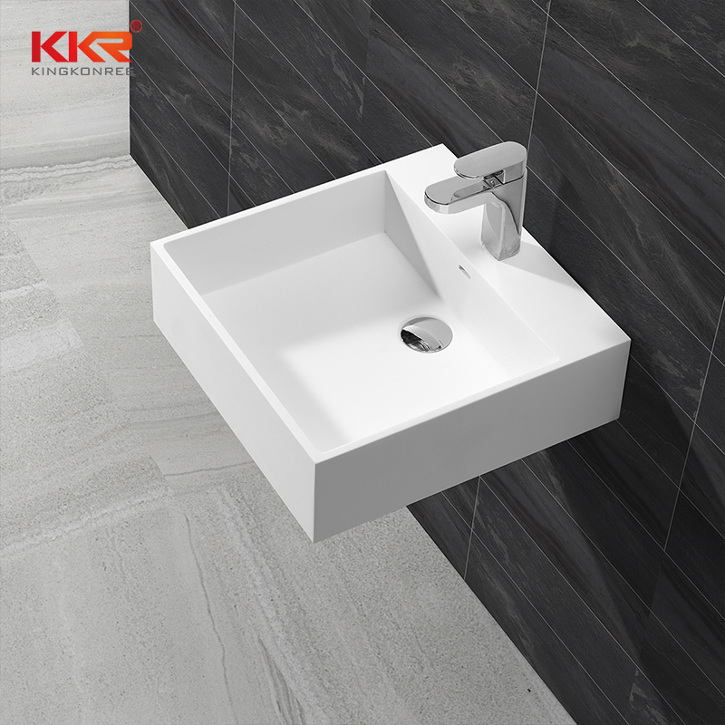 Square Solid Surface Wall Mount Wash Basin KKR-1313
