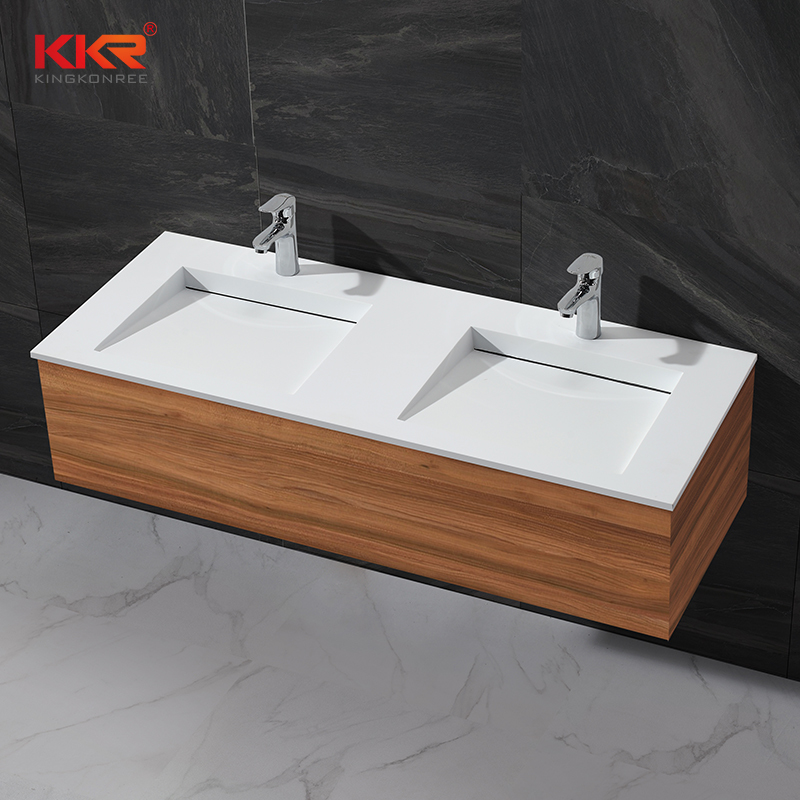 Double Sink Small Slope Design Acrylic Solid Surface Cabinet Washing Basin KKR-1332