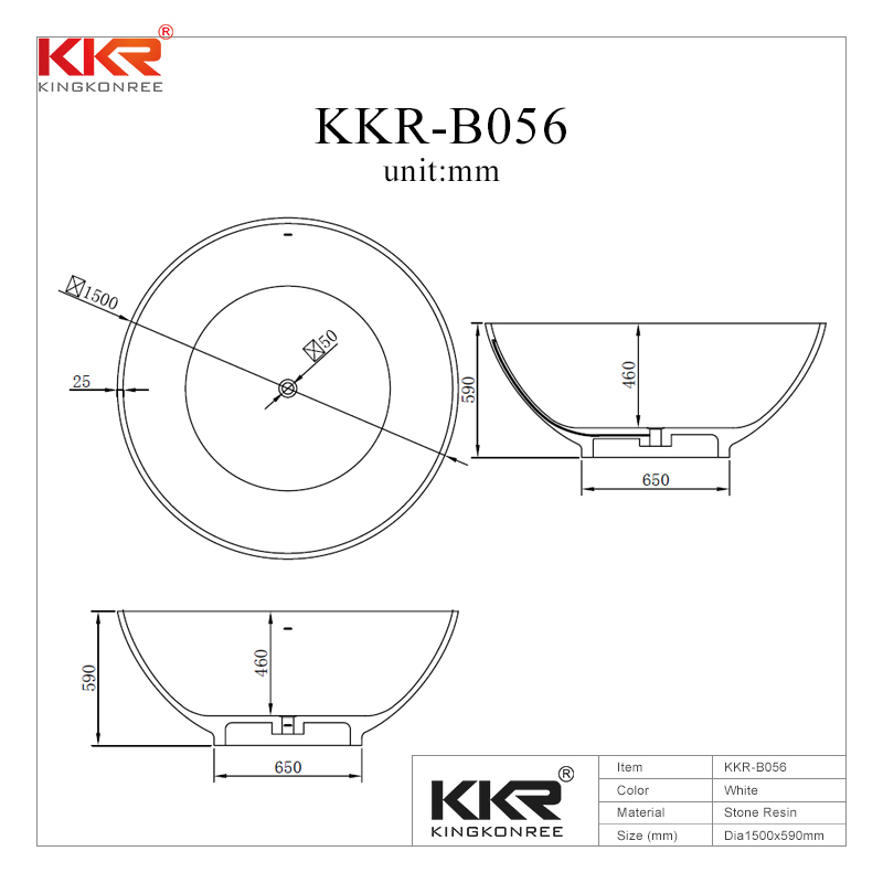 1500mm Diameter Round Solid Surface Bathtub KKR-B056