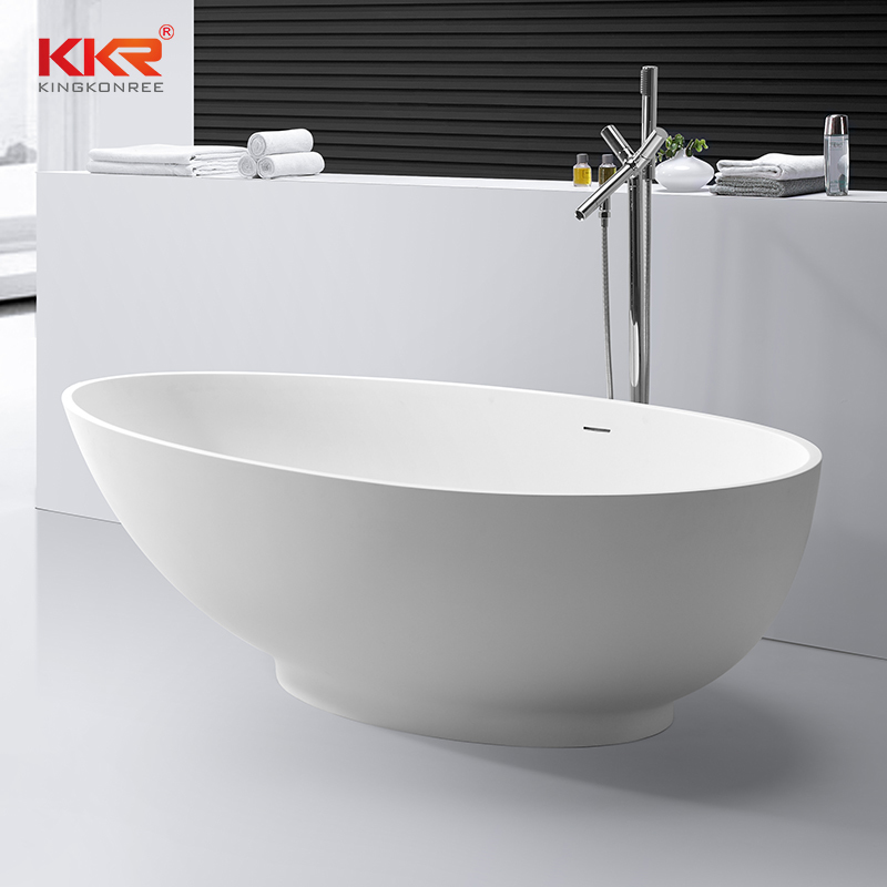 Artificial Stone White Acyrlic Solid Surface Bathtub KKR-B057