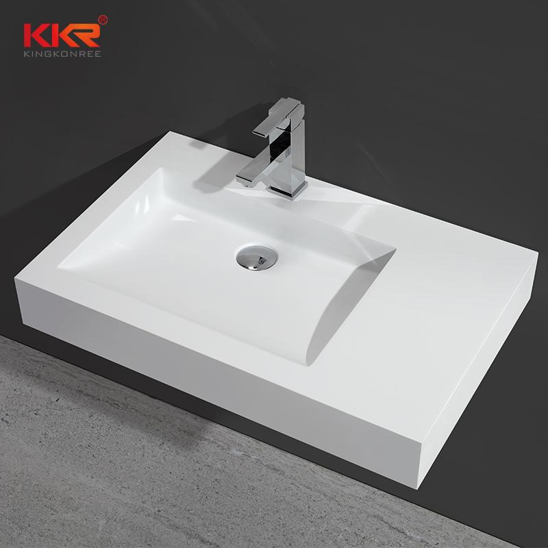 700mm Length White Solid Surface Acrylic Stone Wall Hang Basin KKR-1340