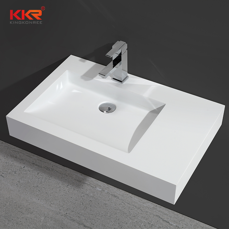 700mm Length White Solid Surface Acrylic Stone Wall Hang Basin KKR-1340