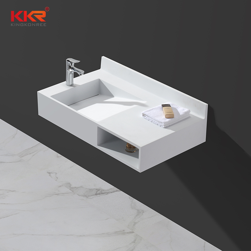 Acrylic Resin Stone Solid Surface Wall Hung Basin With Slope & Towel Shelves KKR-1335
