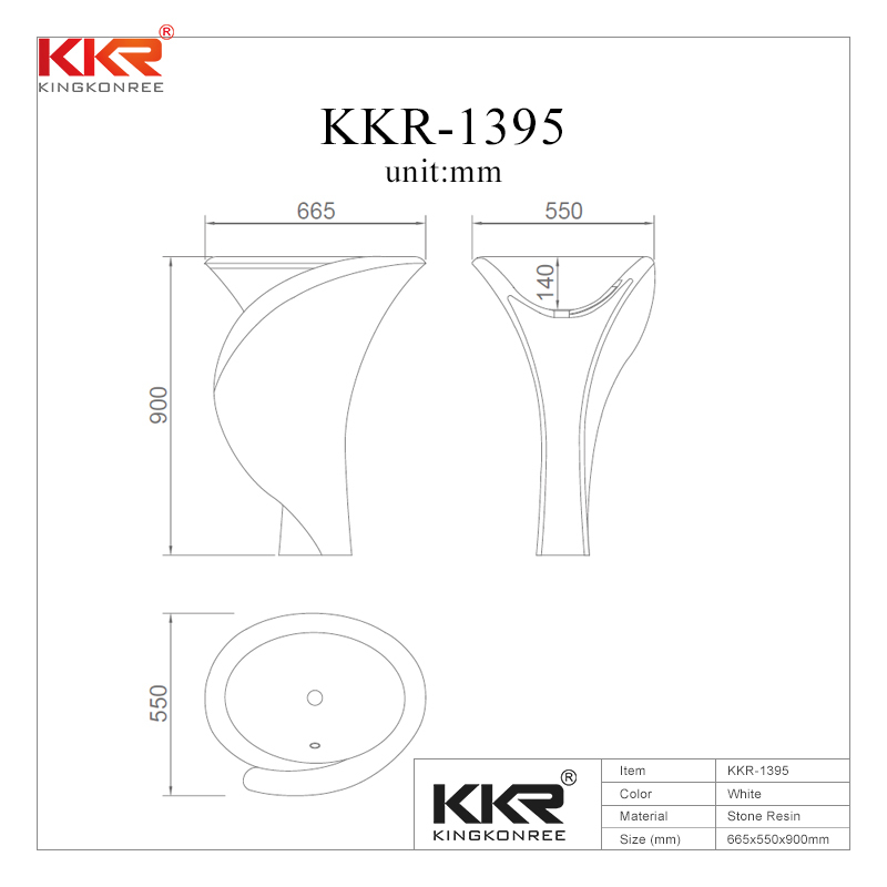 Polymarble Solid Surface Freestanding Basin KKR-1395