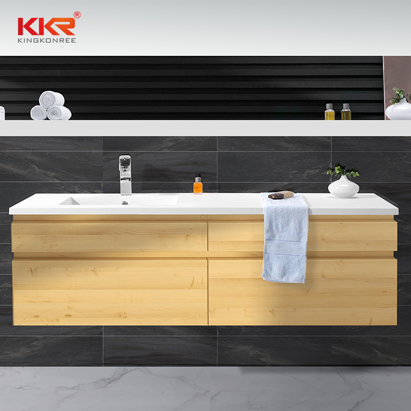 Artificial Stone Acrylic Marble Solid Surface Cabinet Basin With Vanity KKR-1552