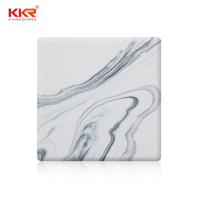 Hot Sales White Marble with Grey Pattern Solid Surface Sheet KKR-M8820