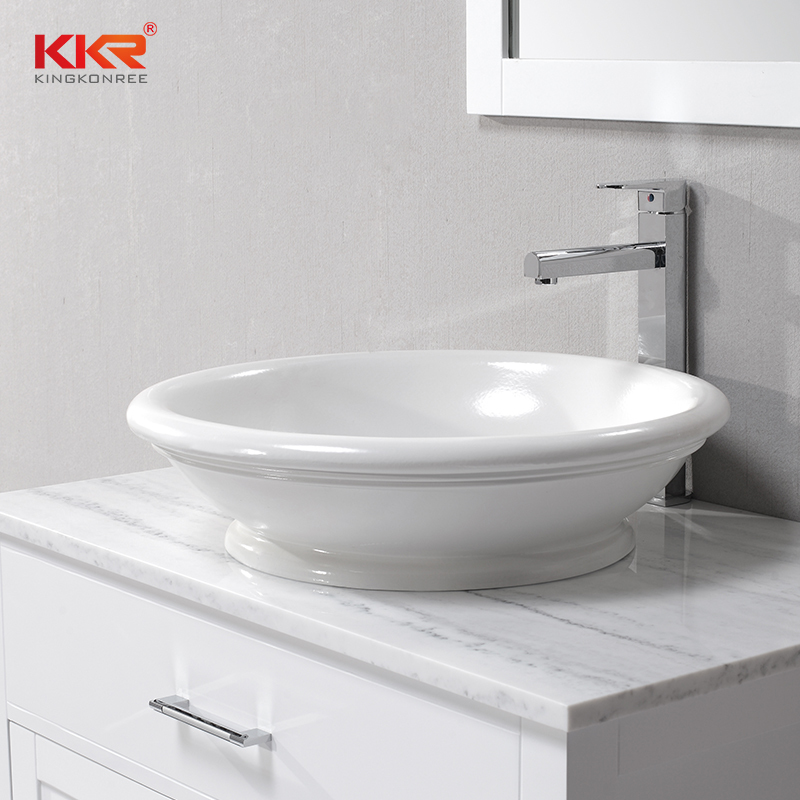 Round Bowl Shape White Solid Surface Polymarble Above Counter Basin KKR-1050