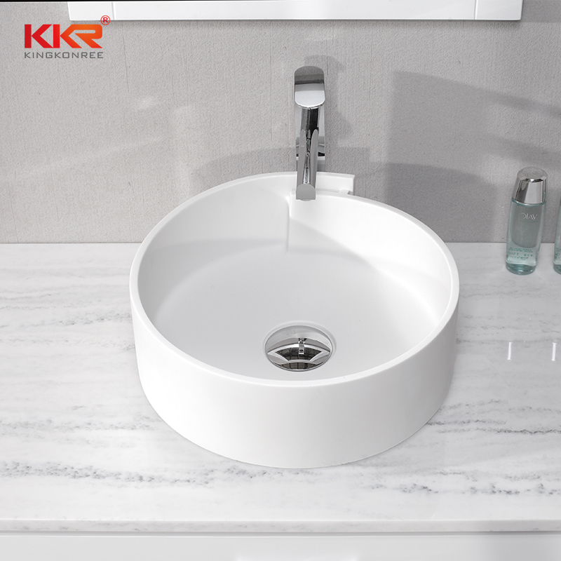 Elegant Design White Acrylic Solid Surface Above Counter Wash Basin KKR-1051