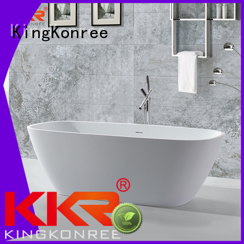 KingKonree Brand outside freestand oval Solid Surface Freestanding Bathtub shelves