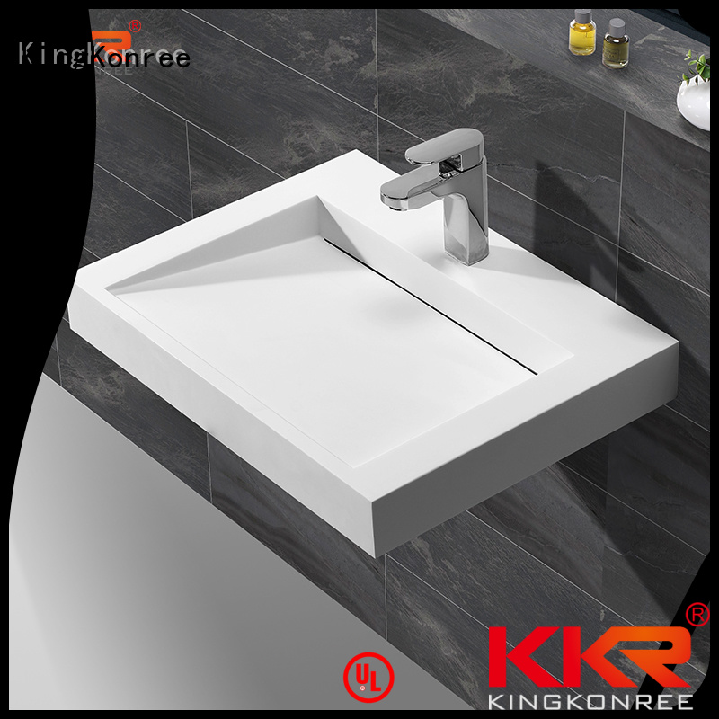 KingKonree Brand slope wall mounted bathroom basin artificial supplier