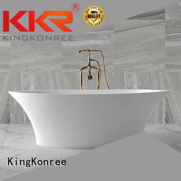 black against KingKonree Brand Solid Surface Freestanding Bathtub factory