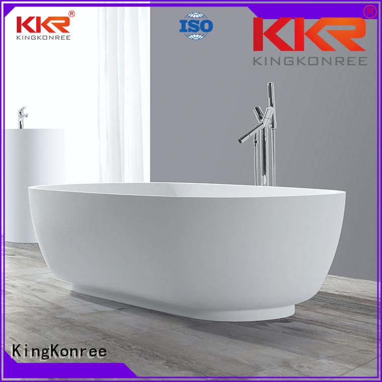 white against length Solid Surface Freestanding Bathtub KingKonree Brand
