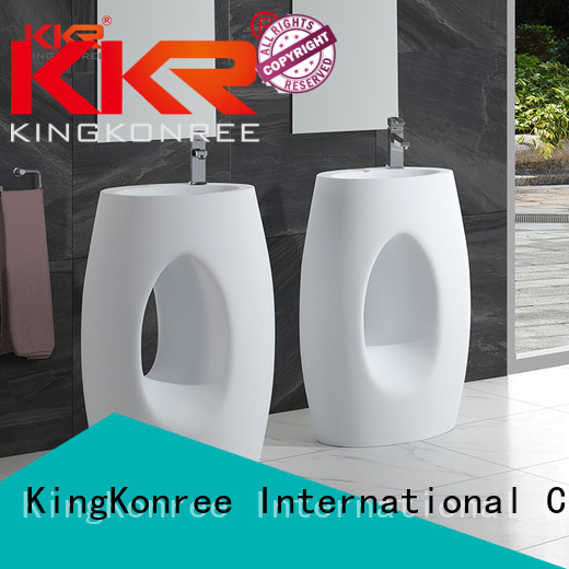KingKonree Brand white square fancy freestanding basin manufacture