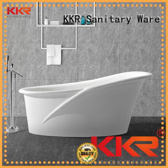 standing small afrtificial ellipse Solid Surface Freestanding Bathtub KingKonree Brand
