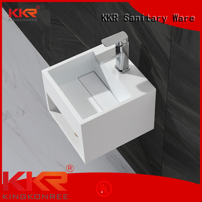 KingKonree Brand selling wall-hung artificial acrylic wall mounted wash basins